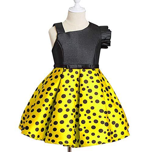ffeei Neue Mädchen Kleid Kinderkleidung Ein-Schulter-Polka Dot Kleid Kinder Kleine Fliegende Hülse Prinzessin Dress,Yellow-100cm