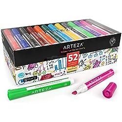ARTEZA Colores de rotulador para pizarra blanca | Caja de 52 marcadores borrables | Rotuladores con punta de bisel | Tinta de olor bajo y 12 colores surtidos, para el colegio, la oficina y el hogar