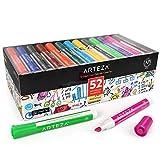 Arteza Whiteboard Marker, Set mit 52 Whiteboard Stiften in 12 verschiedenen Farben, Boardmarker mit Keilspitze, Magnettafel Stifte trocken abwischbar