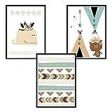 luvel - (P20) - 3er-Set DINA4 Poster für Kinderzimmer und den Bilderrahmen, Kinderposter, Babyzimmer Bilder, Baby Bilder, Dekoration Kinderzimmer