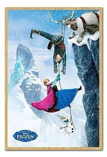 Disney Frozen Die Film Cliffhanger Poster Kork Pinnwand Buchenholz-Rahmen, 96,5x 66cm (ca. 96,5x 66cm)