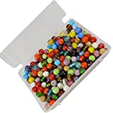 #7: eshoppee handmade 8mm round assorted colors glass beads for jewellery making and home decoration 200 gm