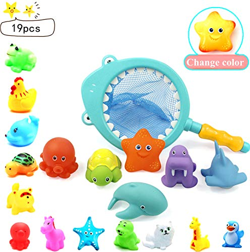 Baby Bath Toys 19pcs Baby Squirters Toys Little Animals Bath Fishing Game Ocean Animals Floating Bath Toy Bathtub Swimming Pool Rubber Float Squirt Sound Toys for Toddler Kids with Fishing Net