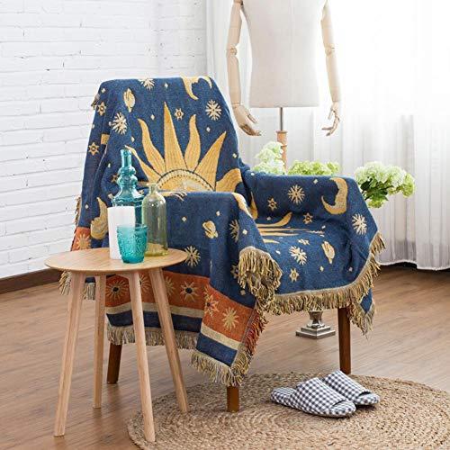 Wifehelper Doppelseitige Baumwolle Gewebt Couch Decke Werfen mit Fransen für Stuhl Couch Picknick Camping Strand 130 x 180 cm -