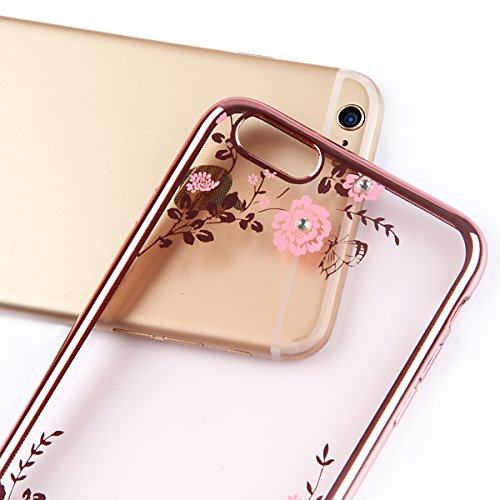 iPhone 6 Cover Rose,iPhone 6 TPU Cover Bumper,iPhone 6S Custodia Sottile,URFEDA Neo Transparent Ultra Slim Sottile Morbida TPU Gel Silicone Disegni Marvel Belle Glitter Intarsiato Diamante Oro Rosa Go Oro Rosa,Rosa