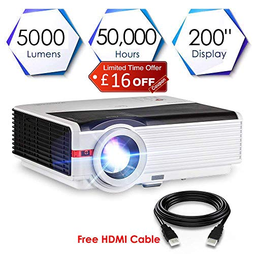 High Brightness 5000 Lumen Multimedia LCD LED Video Projector Home Cinema Theatre Full HD 1080P Support with HDMI USB VGA AV Audio Speakers Zoom Keystone for Laptop Xbox TV DVD PS4 Outdoor Indoor