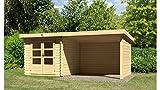 KONIFERA Set: Gartenhaus Ringköbing 4, BxT: 537x297 cm, natur, inkl. Anbau mit Wänden Natur