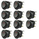 Vococal Interrupteur à Bascule 3 Broches 10 PCS 12V 20A SPST On-Off Interrupteur à Bascule Rock Boat avec Indicateur LED