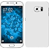 PhoneNatic Case für Samsung Galaxy S6 Edge Hülle weiß gummiert Hard-case für Galaxy S6 Edge + flexible Folie