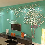 JYSPORT 3D Baum Wandaufkleber Kreative DIY Wandtattoos Wandbilder Hauptdekorationen Kunst (XL, Silver right)