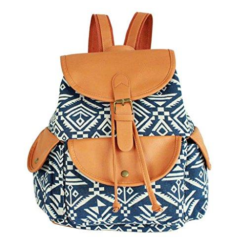 Sammua Mädchen Leder und Canvas Streifen Rucksack mit Kordelzug Schultertasche Freizeit Daypack Rucksack Bookbag - Schwarz&Weiß Blau