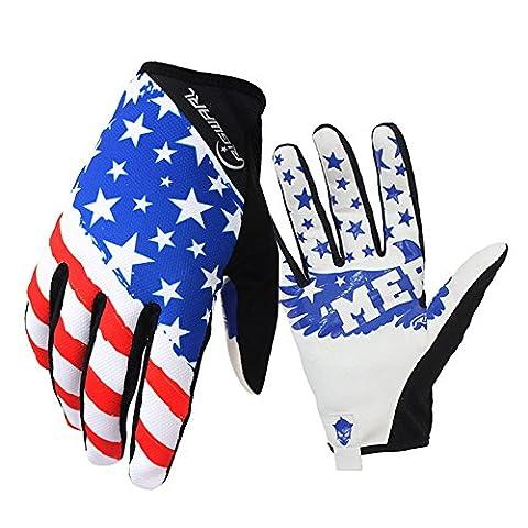 Bike VTT gants avec la conception de modèle de drapeau américain pour motos tout-terrain-escalade-randonnée et autres sports de plein air utilisation, mâle et femelle commune. (M)