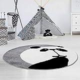 carpet city Kinderteppich Hochwertig mit Panda-Bär in Grau mit Konturenschnitt, Glanzgarn für Kinderzimmer Größe 160/160 cm Rund