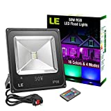 LE 50W RGB LED Flood Lights, Colour Changing LED Security Light, 16 Colours & 4 Modes, Remote Control, Waterproof LED Floodlight, UK 3-Plug, Wall Washer Light