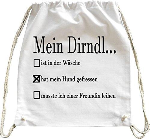 Mister Merchandise Turnbeutel natur Rucksack Mein Dirndl ist… - in der Wäsche Wiesn Wies´n Beutel Tasche Weiß