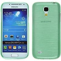 Funda de silicona para Samsung Galaxy S4 Mini - brushed verde - Cover PhoneNatic Cubierta + protector de pantalla