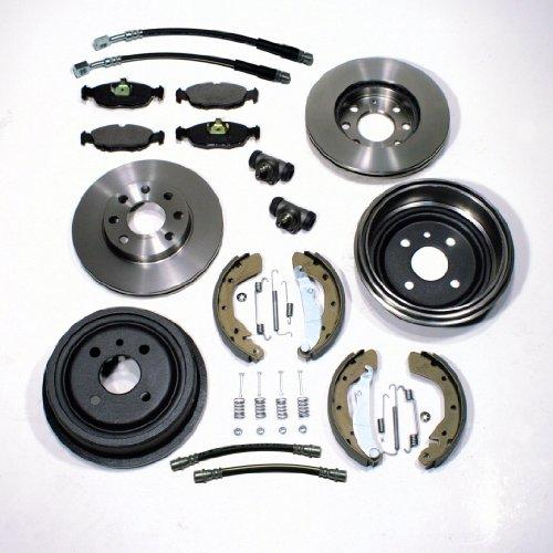 Bremsscheiben + Bremsbeläge vorne + Bremstrommeln + Bremsbacken + Zubehör hinten + Bremsschläuche vorne + hinten