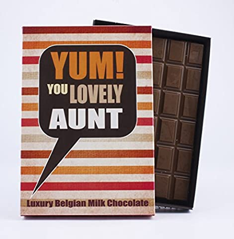 Lovely Aunt Novelty Chocolate Gift 85 Gram Best Luxury Belgian Milk Boxed Gift Bar Box of Chocolates to Say Thank You or Wish Auntie Happy Birthday Greetings Card Humour for