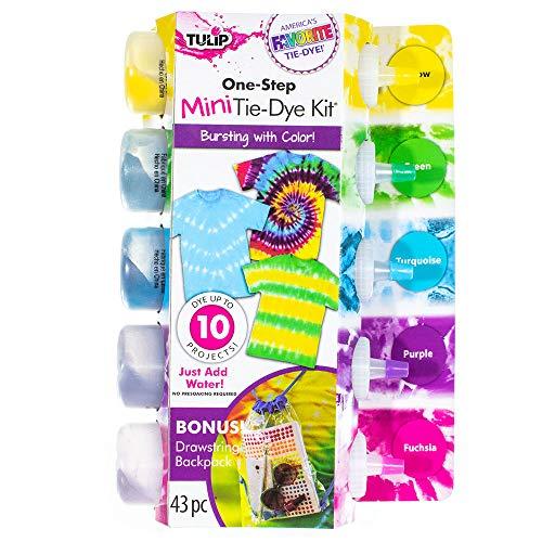 Craft County Mini-Bügel-Set, 43 Teile, 5 Flaschen (je 7 Unzen), 3 Paar Schutzhandschuhe, 30 Gummibänder, Schritt-für-Schritt-Anleitung, wiederverwendbarer Rucksack -