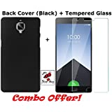 Shop Buzz Combo of Back Cover (Black) + Tempered Glass - One Plus 3 / 3T (Pitch Black Back Cover and Tempered Glass Screen Protector For One Plus 3 / 3T)