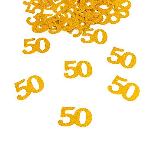 Oblique-Unique Konfetti Zahl 50 Gold Glitzereffekt Deko Geburtstag Hochzeitstag Jubiläum - Großes Konfetti -