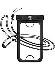 iPhone 7 wasserdichte hülle tasche beutel handyhülle [IPhone 7 Fingerabdruck entriegeln] YOSH® für iPhone 7 6 6s Plus Samsung Huawei Xiaomi LG BQ Aquaris, bis zu 6 Zoll. Für Geld Reisepass (Schwarz)