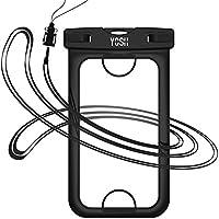 Wasserdichte Hülle Tasche Beutel Handyhülle [IPhone 7 Fingerabdruck entriegeln] YOSH® für iPhone 7 6 6s Plus Samsung Huawei Xiaomi LG BQ Aquaris, bis zu 6 Zoll. Für Geld Reisepass (Schwarz)