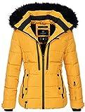 Marikoo warme Damen Winter Jacke Winterjacke Steppjacke gefüttert Kunstfell B682 [B682-Snowgi-Gelb-Gr.S]