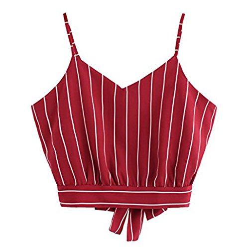 MRULIC Damen Sommer Stripe-Stil V Hals Gestreiften Camisole Trägershirts Tagless Top mit Dünnen Trägern (EU-44/CN-XL, A-Rot) (Stil-träger)