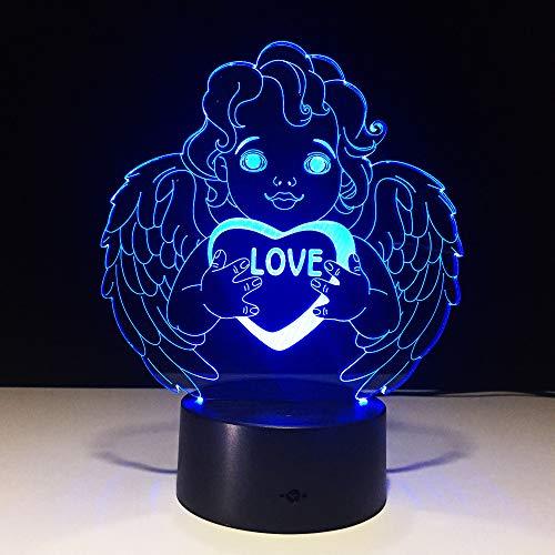 wangZJ 3d Led Illusion Lampe / 3d Nachtlicht / 7 Farben Schreibtisch Dekoration Lampen/Geburtstag Weihnachtsgeschenk/Love Angel - Angeln Dekorationen Geburtstag