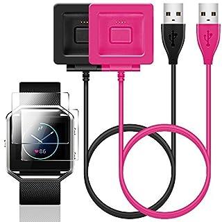 Zubehör Kit für Fitbit Blaze, SENHAI 2 Pack Ladegerät mit Displayschutzfolie Ersatz für Fitbit Blaze Smart Fitness Uhr