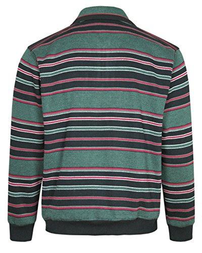 MIAN-MODE Langarm-Polo, Herren Poloshirt IM Ringelook, Baumwollmischung Grün