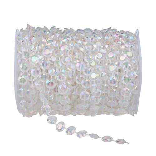 Tinksky 30M clara cortina de cristal perlas para la decoración de la