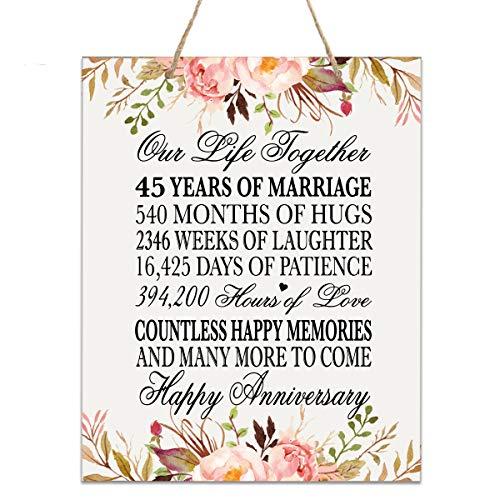 LifeSong Gedenktafel zum 45. Jahrestag der Hochzeit, zum 40. Jahrestag 12x15 Floral Rope Sign (Gedenktafel An Der Hochzeit)