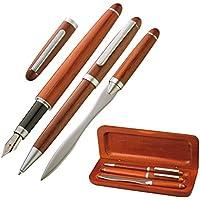 Set scrittura – Penna a sfera, Tagliacarte & Pennino/Penna Stilografica – Elegant in legno – Blu schreibend – 4101