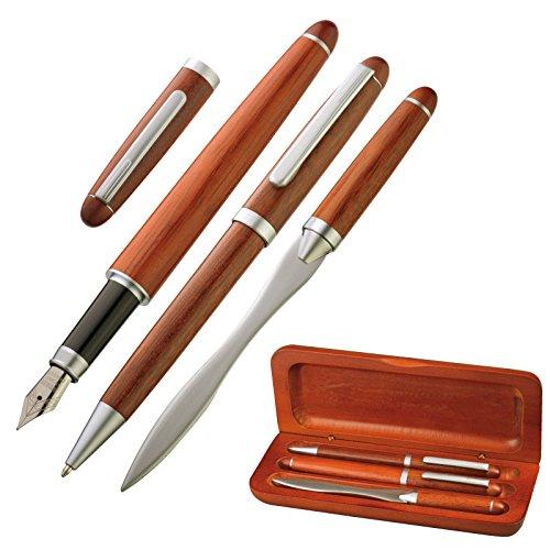 hochwertiges Holz-Schreibset / bestehend aus Kugelschreiber, Brieföffner, Füller