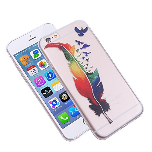 "iProtect TPU Schutzhülle Apple iPhone 6 6s (4,7"") Soft Case - flexible Hülle in transparent Avocado Design Federbaum"