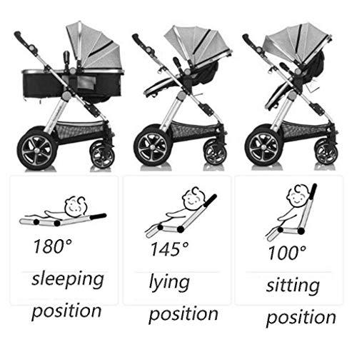 MU Bequeme Kinderwagen Zwei-Wege-Kleinkinderwagen Vier Runden Neugeborene Kinderwagen Falten Baby-Kinderwagen Geeignet für 0-3 Jahre alt, können sitzen und sich hinlegen,GRAU