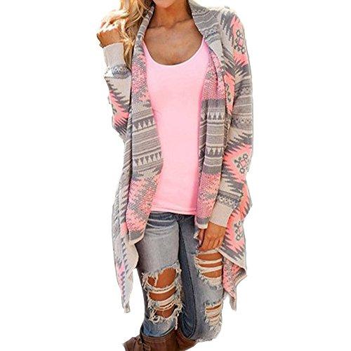 Daman Asymmetrisch Kimono Lose Gestrickt geometrischen Muster Strickjacke Cardigan Strickmantel Strick Mäntel Tunika outwear Parka (L, Rosa) (Satin Asiatischen Hut)