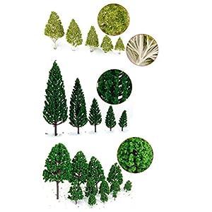 WINOMO 27pcs Model Trees Miniature Trees Trains Railways Scenery Architectural Landscape Trees Scale 1:50