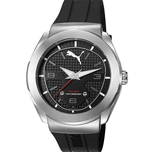 Puma Pu103931004boîtier en acier inoxydable pour homme Bracelet en silicone Noir Cadran noir Argent montre