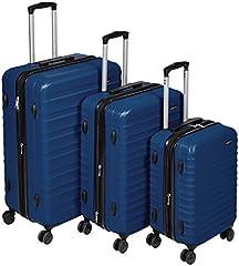 Idea Regalo - AmazonBasics - Set di trolley rigidi con rotelle girevoli, Set da 3 pezzi (55 cm, 68 cm, 78 cm), Blu scuro