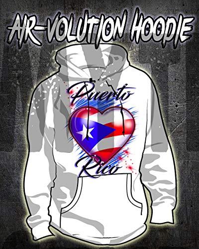 Mythic Airbrush Airbrushed Puerto Rico Flag HerzHoodie Personalisierte Kinder- / Erwachsen-Größen Weiß