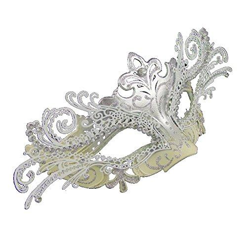 e mit filigran silberfarben/cremefarben (z266) (Silber-maskerade-masken Für Frauen)