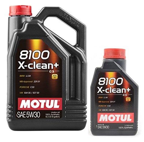 Olio Lubrificanti Motore MOTUL 8100 X-clean+ 5w30 6 litri (1x5 lt + 1x1 lt) 100% sintetico DPF