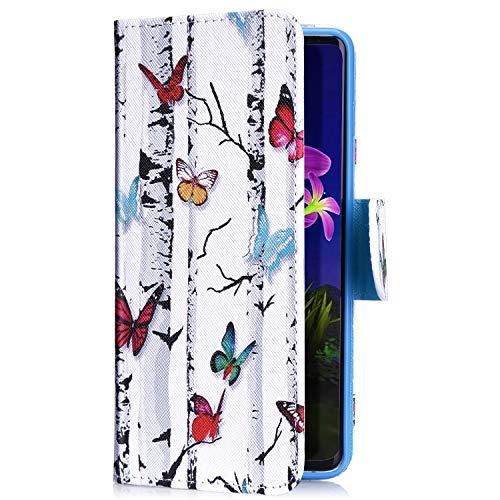 Uposao Kompatibel mit Samsung Galaxy J6 2018 Handyhülle Leder Tasche Lederhülle Retro Bunt 3D Muster Schutzhülle Bookstyle Flip Case Wallet Cover Ständer Kartenfach Klapphülle,Schmetterling - Flip-maniküre-set