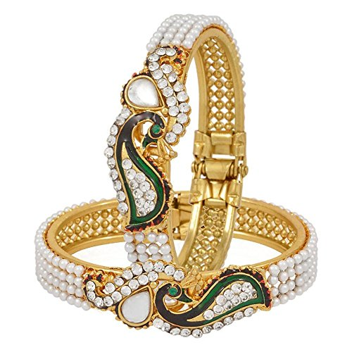 Zeneme Dancing Peacock American Diamond Bangle Set For Women  available at amazon for Rs.249