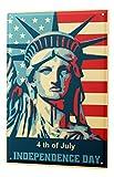 Estaño cuarto Ingresar Independencia de julio Día de la Estatua de la Libertad con la bandera americana historietas de dibujos animados sátira 20x30 cm