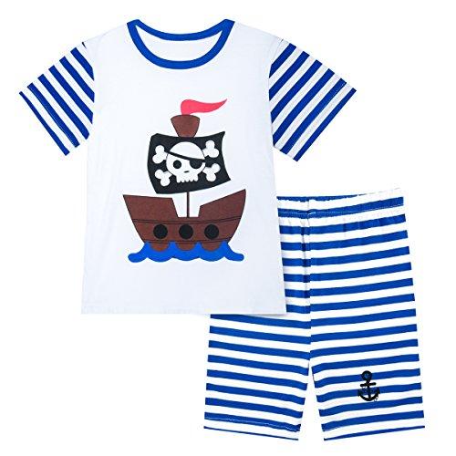 fanzug Motorrad Pyjamas Set Kurzarm Sommer Nachtwäsche (Pirat, 4 Jahre) (Herren Piraten Outfit)