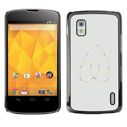 GooooStore/Dura Custodia Rigida della copertura della cassa - Heart Pearls Gold Blue Minimalist - LG Google Nexus 4 E960 - Blue Pearl Gt